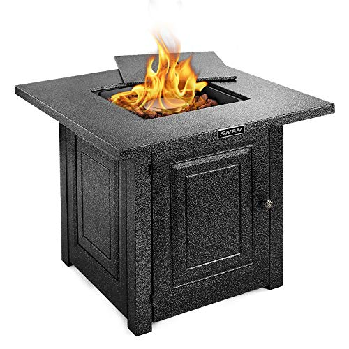 SNAN Gas Propane Fire Pit Table, 28 Inch, Outdoor Companion, Auto-Ignition, Special Advanced Texture Black Strong Steel Surface, Adjustable Flame, ETL Certification, for Garden/Patio/Courtyard/Balcon