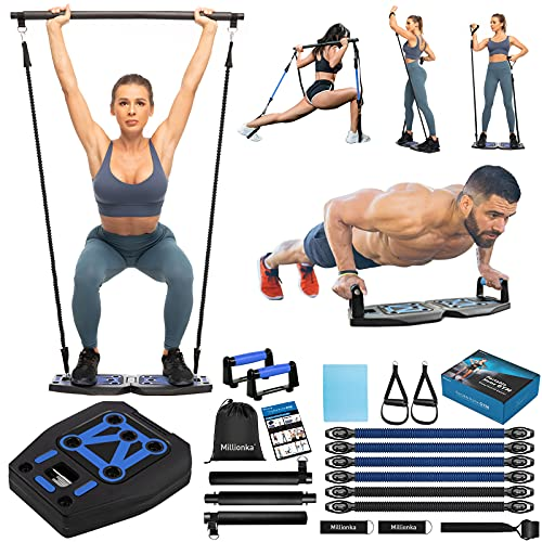 Portable Home Gym Workout Equipment with 16 Exercise Accessories Including Push-up Stand, Elastic Resistance Bands, Ab Roller Wheels, Pilates Bar and More for Full Body at Home Exercise Equipment