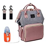 BabyMemory Backpack Diaper Bag Multi-Functional Mommy Backpack Waterproof Maternity Travel Nappy Bags with USB Charging Port & Bottle Warmer for Baby Care, Fashion, Durable and Stylish (Pink&Gray)
