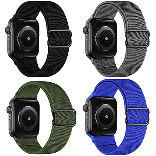 Nailon elástico Solo Loop compatible con correas Apple Watch 38 mm 40 mm 42 mm 44 mm, elásticos de nailon deportivos entrelazados ajustables hombre mujer compatible con iWatch Series 6/5/4/3/2/1,SE