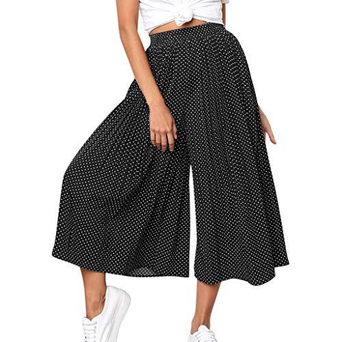 Excursion Pantalones plisados de cintura alta para mujer, de color liso, con pierna ancha, casual, cómodos, transpirables, de lunares, hippie, pantalones capri, Negro, XL