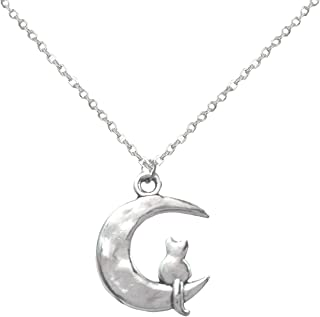 Li-Jacobs Silver Kitty Cat on The Moon Pendant Necklace for Women Girls Granddaughter Fashion Jewelry