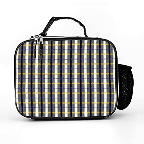 AXGM Bolsa isotérmica con diseño de cuadros, para el almuerzo, bolsa de pícnic, bolsa térmica elegante, bolsa de pícnic aislada para mujeres y hombres, color blanco, talla única