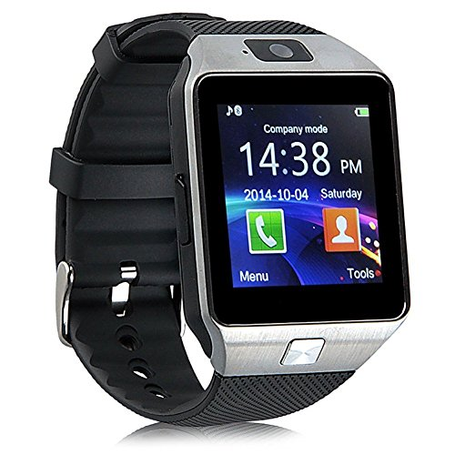 DZ09 Mobile Smartwatch Touchscreen Compatible to Android, iPhone, Samsung, Bluetooth Camera Anti-Lost Support SIM/TF Card Watch (Screen Size 2