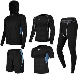 BUYJYA 5Pcs Men's Workout Set with Pants, Long Sleeve Shirts,Shorts,Jacket and Short Sleeve