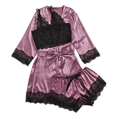 Fenverk 3Stück Negligees Damen Sexy Dessous Silk Kimono Dressing Babydoll Spitze...