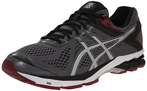ASICS Men's GT 1000 4 Running Shoe, Carbon/Silver/Maroon, 8 M US