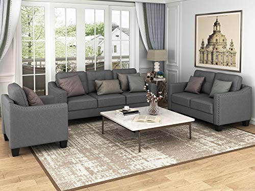 Harper & Bright Designs 3 Pieces Living Room Sets, Couch Set for Living Room with Sofa Loveseat and Armchair