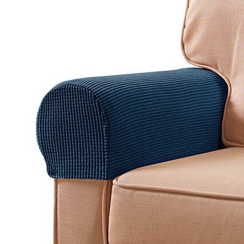 subrtex Stretch Armrest Covers Spandex Arm Covers for Chairs Couch Sofa Armchair Slipcovers for Recliner Sofa with Twist Pins 2pcs (Navy)