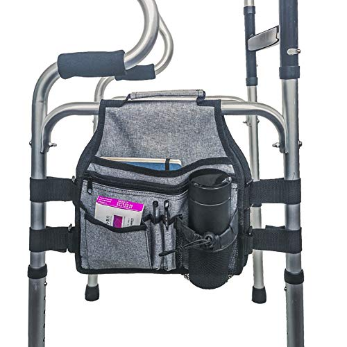 Dkhsy Walker Bag Walker Attachment Handicap Side Basket Pouch para Rollator Silla de ruedas Plegable Walkers, se conecta y se separa fácilmente