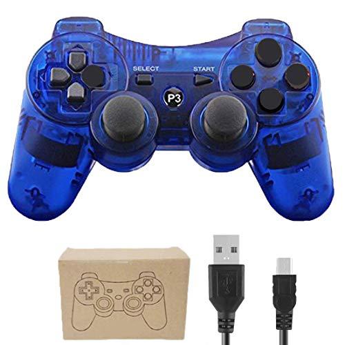 Gollec Manette sans fil télécommande pour PS3 Playstation 3 Double Shock avec câble de charge USB Bleu clair.