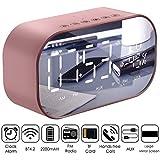 Haokaini Digitaler FM-Radiowecker, kabelloser Radiowecker mit Bluetooth-Lautsprechern, multifunktionaler Auto-Subwoofer für Schlafzimmer im Außenbereich (Color : Rose Gold)