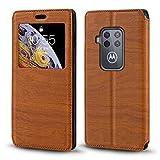 Motorola Moto One Zoom Case, Wood Grain Leather Case with
