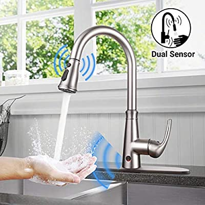 Touch on Kitchen Faucet, Dalmo DAKF5F Touchless Kitchen Faucets with Fingerprints Resistant, Single Handle Sensor Kitchen Sink Faucet with 3 Modes Pull Down Sprayer & Metal Deck Plate