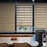 Graywind Motorized Zebra Sheer Shade Compatible with Alexa Google WiFi Smart Home Hardwired Plug-in Horizontal Window Blinds Window Shades Light Filtering Window Blinds, Customized Size Coffee