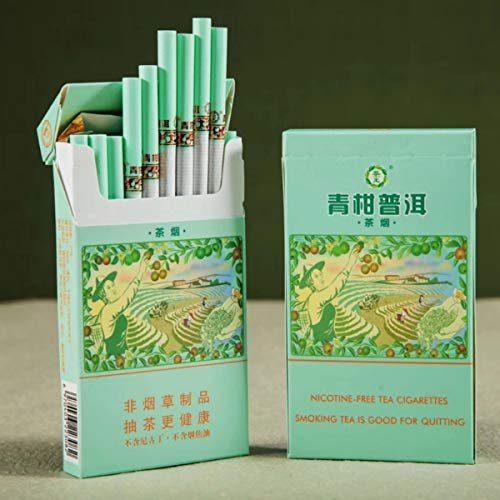 Green Tea Herbal Cigarettes Menthol Fruit Tea Smoke, Black Tea Jasmine Tea Chinese Herbal Cigarettes Tobacco-Free Nicotine-Free, Cigarette Substitutes (Green Orange Pu'er,1 Pack)