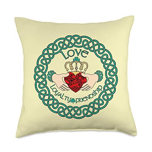 Irish T Shirt Emporium Irish Claddagh Ring Love Loyalty Friendship Celtic Pattern Throw Pillow, 18x18, Multicolor
