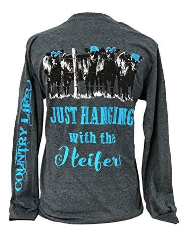 Country Life Hanging with The Heifers Heather Gray Women's Long Sleeve Shirt (Medium, Aqua)