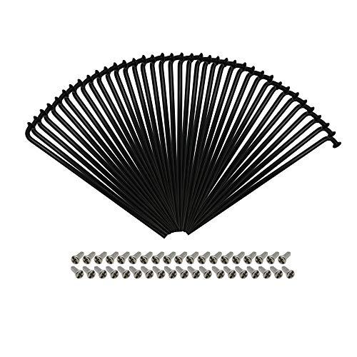 P4B | 38x Speichen mit 38x Nippel - 258 mm | Durchmesser 2mm | NIRO-Edelstahl Fahrradspeichen in Schwarz mit silbernen Messing-Nippel