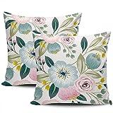 Fundas de Almohada Decorativas para el hogar Fundas de Flores de Primavera Fundas de Almohada Florales de Colores Dulces 45 * 45cm Juego de 2