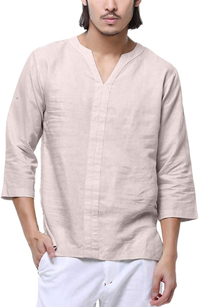 DIOMOR Casual Linen Solid V Neck 3/4 Sleeve Shirt for Men Vintage Baggy Simple Pajamas Henley Tops Daily Polo Blouses