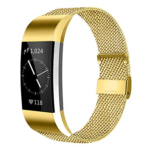 AK Kompatibel Für Fitbit Charge 2 Armband (2 Größen), Metall Mesh Magnetverschluss Edelstahl Ersatzband für Fitbit Charge 2 (Gold, Small)