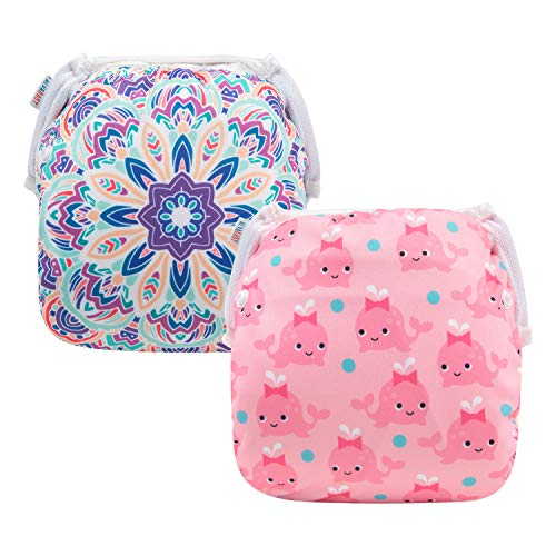ALVABABY Baby Swim Diapers 2pcs Reuseable Washable Adjustable for Swimming Lesson Baby Shower Gifts 0-2 Years (DYK53-54)