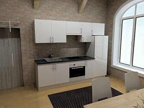 Cocina económica completa con electromésticos 2,40 m blanca