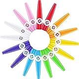 16 Piezas de Kazoos de Plástico 8 Instrumentos Musicales de Kazoo Colorido, Buen Compañero para Guitarra, Ukelele, Violín, Teclado de Piano, Bueno Regalo para Amantes de la Música