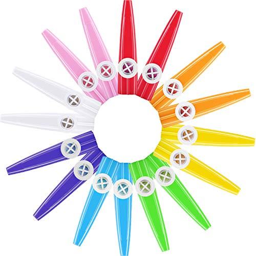 16 Stücke Kunststoff Kazoos 8 Bunte Kazoo Musik Instrument, Guter Begleiter für Gitarre, Ukulele, Violine, Klaviertastatur, Großes Geschenk für Musikliebhaber (16 Stücke)