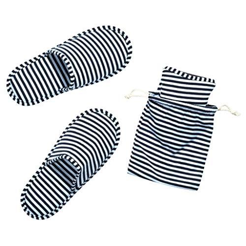 BRISEZZ Warm Männer Frauen Gestreifte Hausschuhe Hotel Travel Portable Folding Home Hausschuhe Waschbare Winter Pantoffel aus Baumwolle Innenbaumwollschuh Pantoffeln Anti-Skid (40-44, Navy)