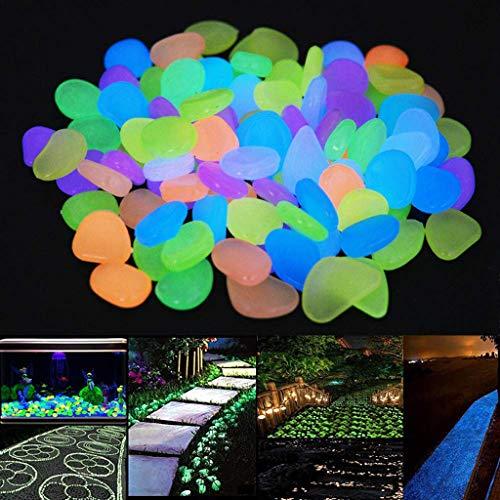 FBGood 450 Stück Leuchtsteine, Dunkeln Leuchtende Kieselsteine Leuchtkiesel Floureszierende Pebble Steine für Aquarium Indoor Flur Garten Kinderzimmer Dekoration (Weiß)