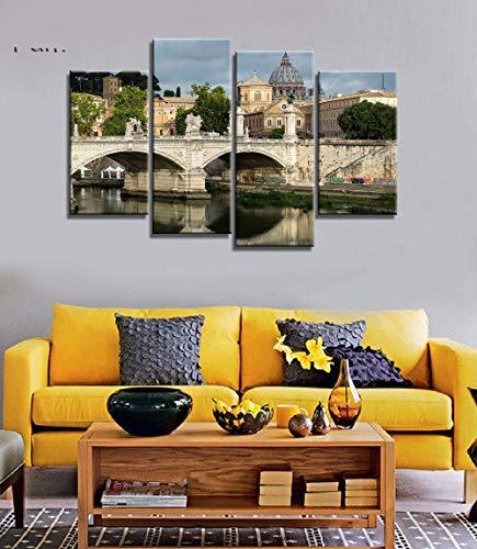 ANTAIBM® 4 Visuelle Fotos der Inneneinrichtung Holzrahmen - verschiedene Größen - verschiedene Stile4 Stück See und Dolomiten Naturlandschaften in Italien Leinwand Stoff Poster Wandkunst Raumdekoratio