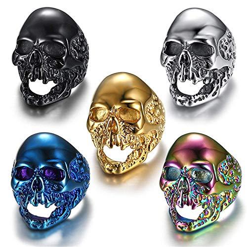 JIANLISP Acero Inoxidable gótico de los Hombres del Anillo del cráneo del Motorista Head Set 5 PCS