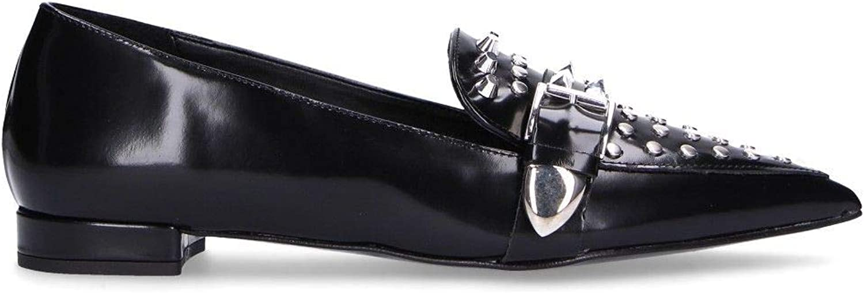 DI LUNA Women's C3124BLACK Black Leather Flats
