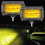 Athiry 2pcs 72W 4Dレンズ LED スタイルスタイリング ワークライトバー スポットビーム アンバー色12V 24V For オフロード バイク ボートATV UTV SUV ジープ トラック