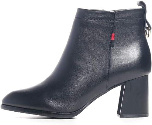 YAN Bottes pour Femmes, Bottes en Cuir pour Les Les dames, Pointues à la Mode, Bottes à Talons Hauts, Chaussures de Cuir Noir (Couleur   Noir, Taille   35)