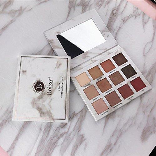 Marmor Eyeshadow Rosennie 12 Farbe Perle Matte Farbe Make-up Disk Erde Farbe Lidschatten Palette, perfekt aufeinander abgestimmte Gold-, Kupfer- und Beerentöne, metallischer Schimmer
