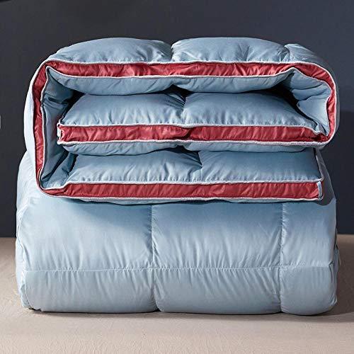 CHOU DAN Duvet Double Bed 10.5 Tog,White & Down Duvet-100% Cotton Anti Dust Mite & Down Proof Fabric-Anti Allergen Winter Quilt-150 * 200cm 2000g_cyan