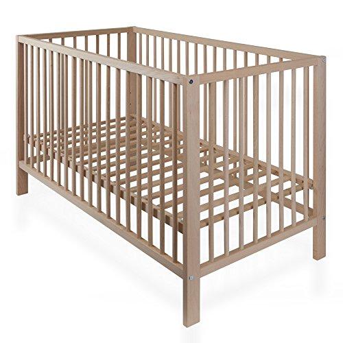 Babybett Gitterbett BUCHE NATUR Kinderbett mit Lattenrost 120 x 60 cm