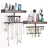 Keebofly Hanging Wall Mounted Jewelry Organizer with Rustic Wood Jewelry Holder Display for Necklaces Bracelet Earrings Ring Set of 2 Weathered Grey