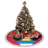 R&er Weihnachtsbaumrock mit Flagge, Antigua & Barbuda-Motiv, Weihnachtsmann, 91,4 cm, doppelschichtig, Teppich, Party, Schwarz, 76,2 cm