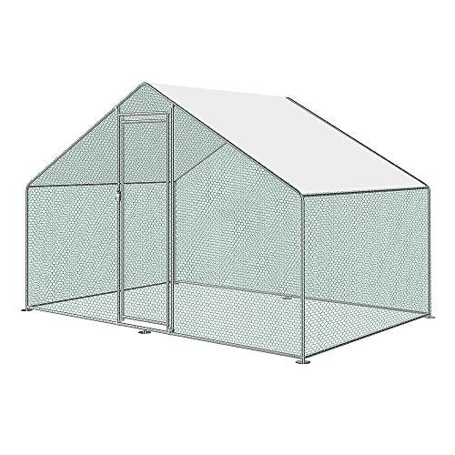 XL Hühnerstall Freilaufgehege mit Schloss, Verzinkter Stahl Kleintierstall Freigehege, Hühnerhaus Dach Geflügelstall für Hühnerkäfig Vogelkäfig Kleintiere Haustierkäfig Outdoor, 3x2x2m