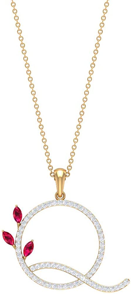 Q Initial Alphabet Pendant, 0.39 CT Ruby Lab Created Pendant, HI-SI 0.41 CT Diamond Charm Necklace, Floral Name Pendant, Customize Anniversary Pendant