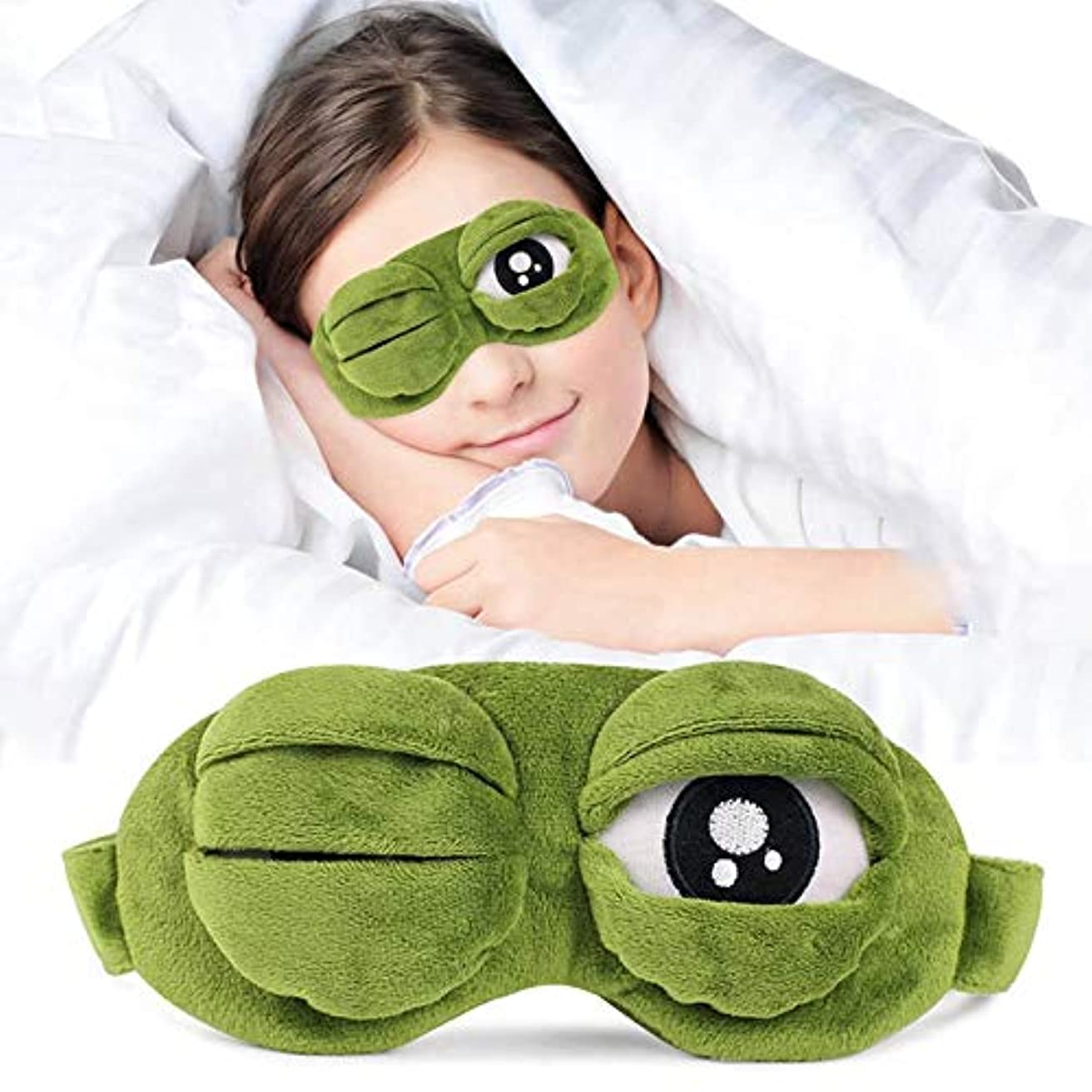 許可完了平和NOTE 1ピース3d悲しいカエル睡眠マスク睡眠補助目隠しアイマスクアイシェードアイスカバー旅行アイパッチ