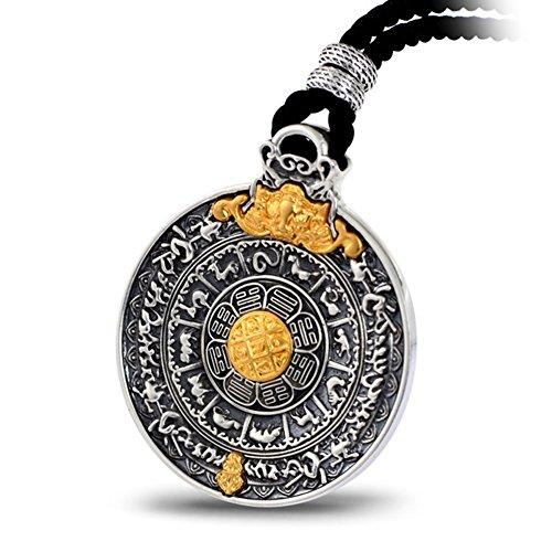 XYLUCKY Vintage 999 Sterling Silber Intarsien Gold Neun Palace Gossip Anhänger Halskette, 12 Sternzeichen Silber Anhänger Amulett Für Männer und Frauen