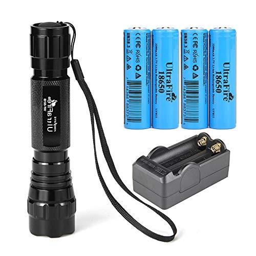 UltraFire 18650 linterna con 4 piezas UFB22 3.7v 18650 2200mAh batería recargable y cargador, modo único Mini linternas 500 lúmenes