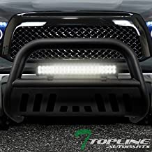 Topline Autopart Matte Black Bull Bar Brush Push Bumper Grill Grille Guard With Skid Plate + 120W CREE LED Fog Light For 07-19 Toyota Tundra / 08-19 Sequoia