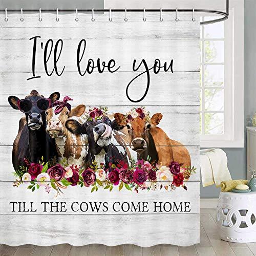 Duschvorhang mit Kuh-Motiv, lustiger Bauernhof, Tier, Kuh, Duschvorhang-Sets, Landhaus-Duschvorhang, rustikaler Holzstoff, Duschvorhang-Set mit Haken, 170 x 178 cm