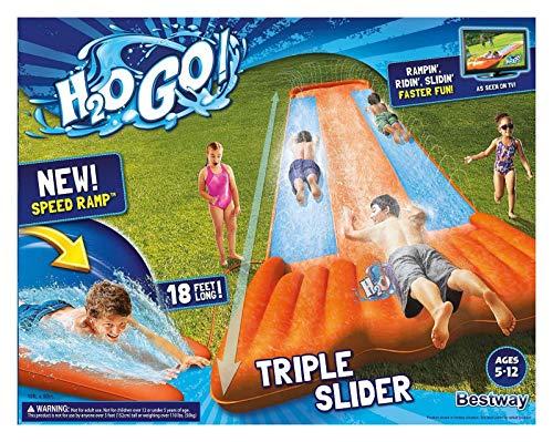New Inflatable Water Slide Triple Pool Kids Park Backyard Play Fun Outdoor Splash Slip N Slide -  H2OGO!, 43227-630